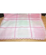 First Impressions Macy's Plaid Baby Blanket Chenille Pink Green scallope... - $20.04
