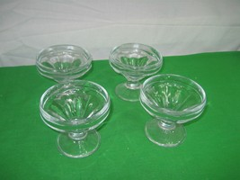 Set of 4 Clear Pressed Glass Sherbet Ice Cream Sundae Footed Cup Dish Bowls - $9.46