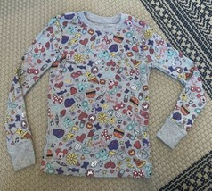 Disney Mickey Mouse Spotted Zebra Long Sleeve Size Large (10) MINNIE Hearts FOOD - $11.29