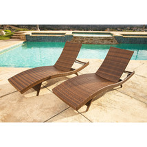 Chaise Lounge Set of 2 Outdoor Wicker Chairs Brown Recliner Chair Patio ... - $665.46
