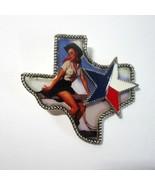 "Vintage Gil Elvgren ""Cowboy"" Pinup Girl on Metal Texas Shaped Lone Star ... - $19.99"