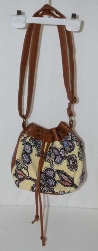 Howards Purse Yellow Multicolor Paisley Type Print Canvas Leather Like Trim