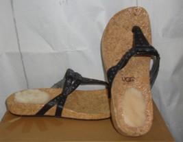 UGG  Deitra Black Leather Flip Flops With Metal Studs Size US 7, EU 38 N... - $48.46
