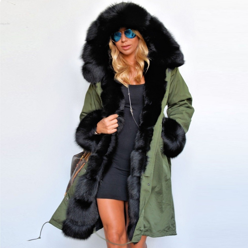 Women's Fur, Hooded, Long, Green, Parka Coat- Coats & Jackets