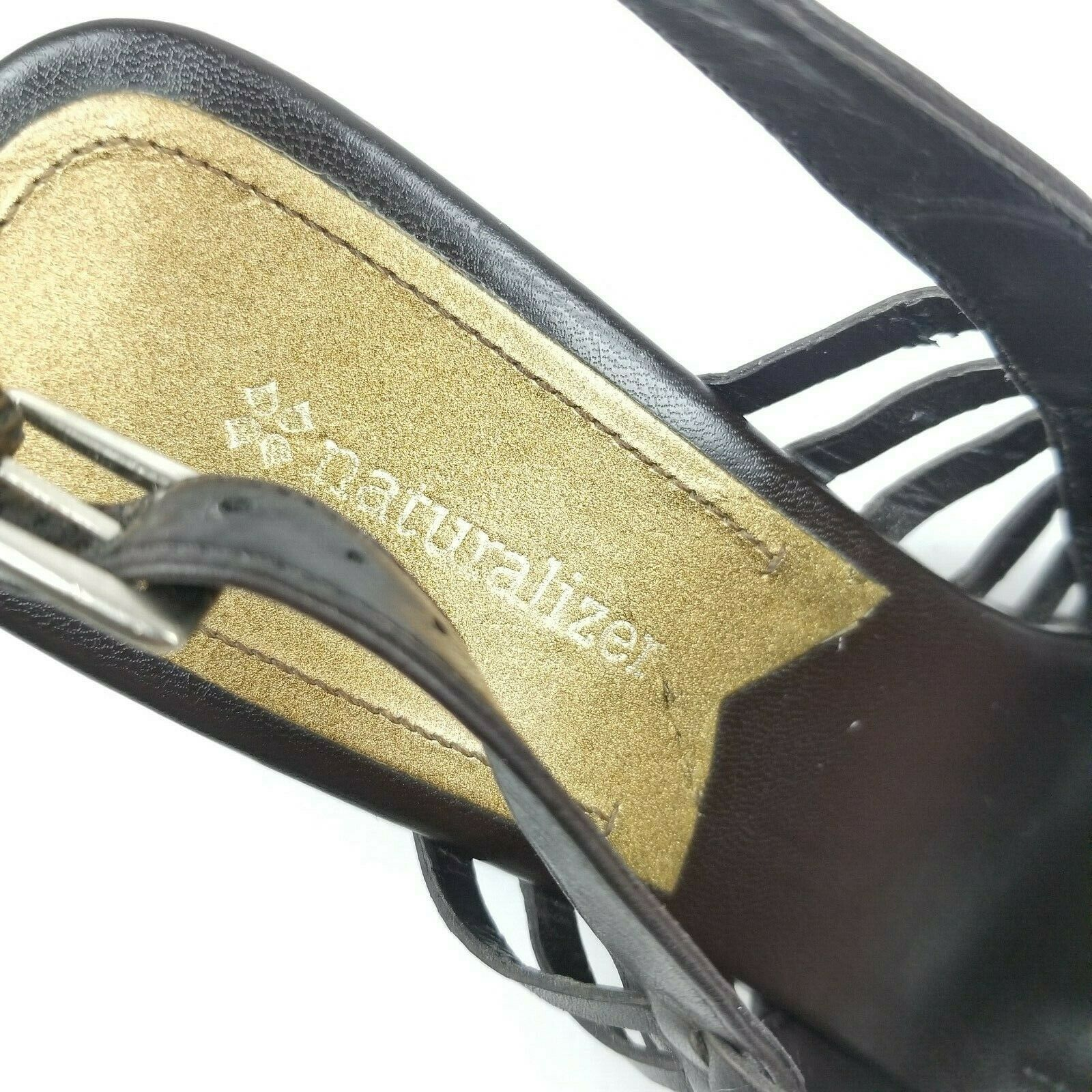 Naturalizer Womens Brown Leather Strappy Sandals Size 10
