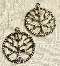 TREE OF LIFE FINE PEWTER CHARM PENDANT - 24x21x3mm