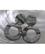 Estate Large Grayish Green & White Swirl Clay Open Circle Dangle Post Ea... - $8.59
