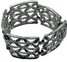 Vintage Coro Pegasus Wide Bracelet Silver Open Intricate Design Link Lea... - $26.14