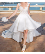 White Prom Dress,Lace Prom Dress,High Low Prom Dress,Fashion Prom Dress, - $212.00