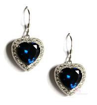BFA Heart for Jerusalem™ Sapphire Blue Cz 925 Sterling Silver Dangle Earrings - $198.00