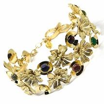 18K YELLOW GOLD BRACELET, RIGID, BANGLE, FINELY WORKED FLOWERS, CABOCHON STONES image 1
