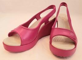 Crocs Pink Slingback Wedge Sandal Womens Shoes Size 8W - $35.00