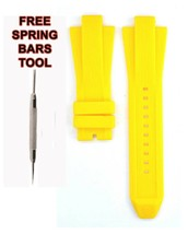 Compatible Michael Kors MK8356 13x29mm Yellow Rubber Watch Strap MKR102 - $28.63