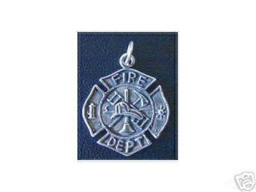 LOOK Sterling Silver Fire man Fighter DEPT Pendant Charm Jewelry