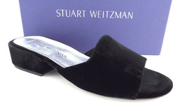 New STUART WEITZMAN Size 8 SLIDERULE Black Velvet Slides Mule Flats Shoes - $159.00