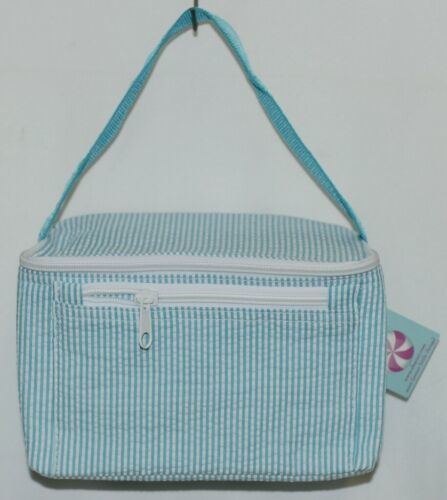 Oh Mint 1604343STRIPE Aqua and White Stripe Seersucker Lunchbox