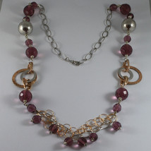 .925 RHODIUM SILVER ROSE GOLD PLATED NECKLACE WITH PURPLE FACETED CRISTALS image 2