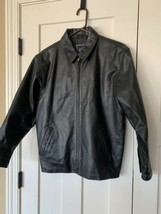 Boys Gap Black Genuine Leather moto bomber flight Jacket Size XXL  (16/18) - $34.64