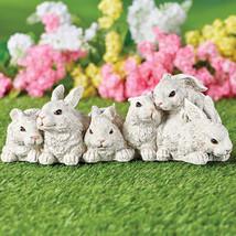 White Garden Bunnies Statue Outdoor Decoration - $28.66