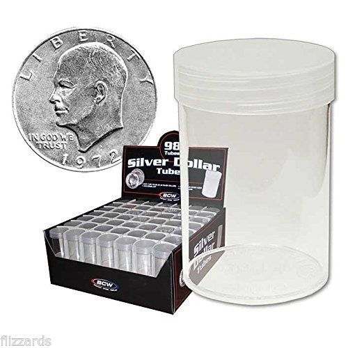 Round Large Dollar Coin Storage Tubes 38mm by BCW 98 pack