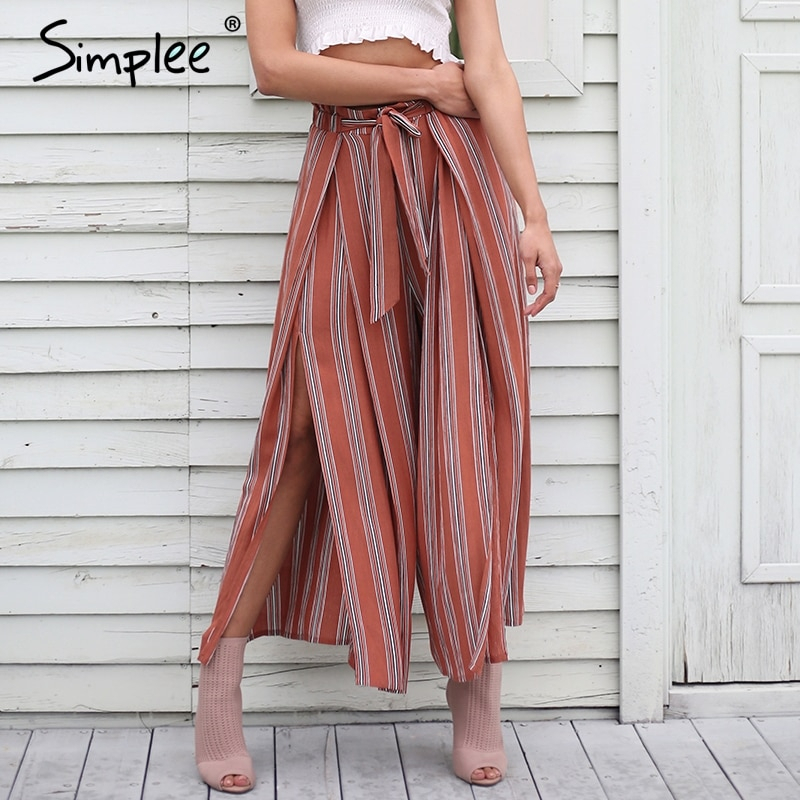 Primary image for Simplee High split stripe wide leg pants women Summer beach high waist trousers