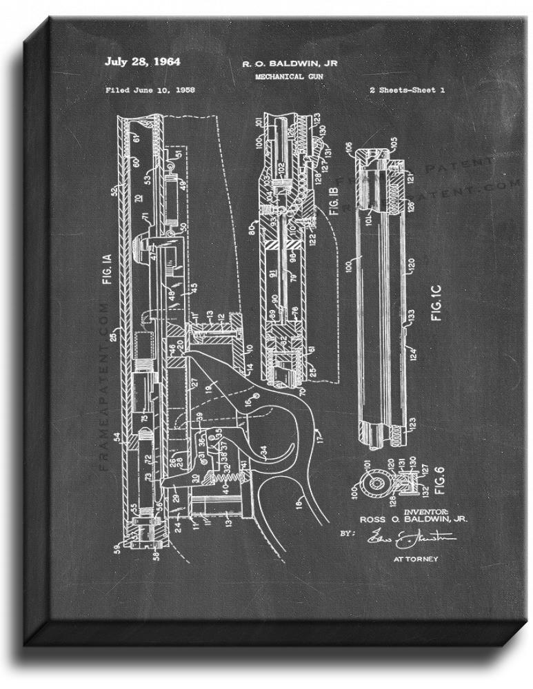 Primary image for Mechanical Gun Patent Print Chalkboard on Canvas