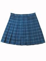Women Girl Blue Plaid Pleated Skirt Plus Size Pleated Tennis Skirt Plus Size image 3