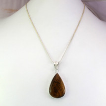 Tiger's Eye Stone Silver Overlay Pendant With Chain/Necklace Collection RS-14-52 - $8.09