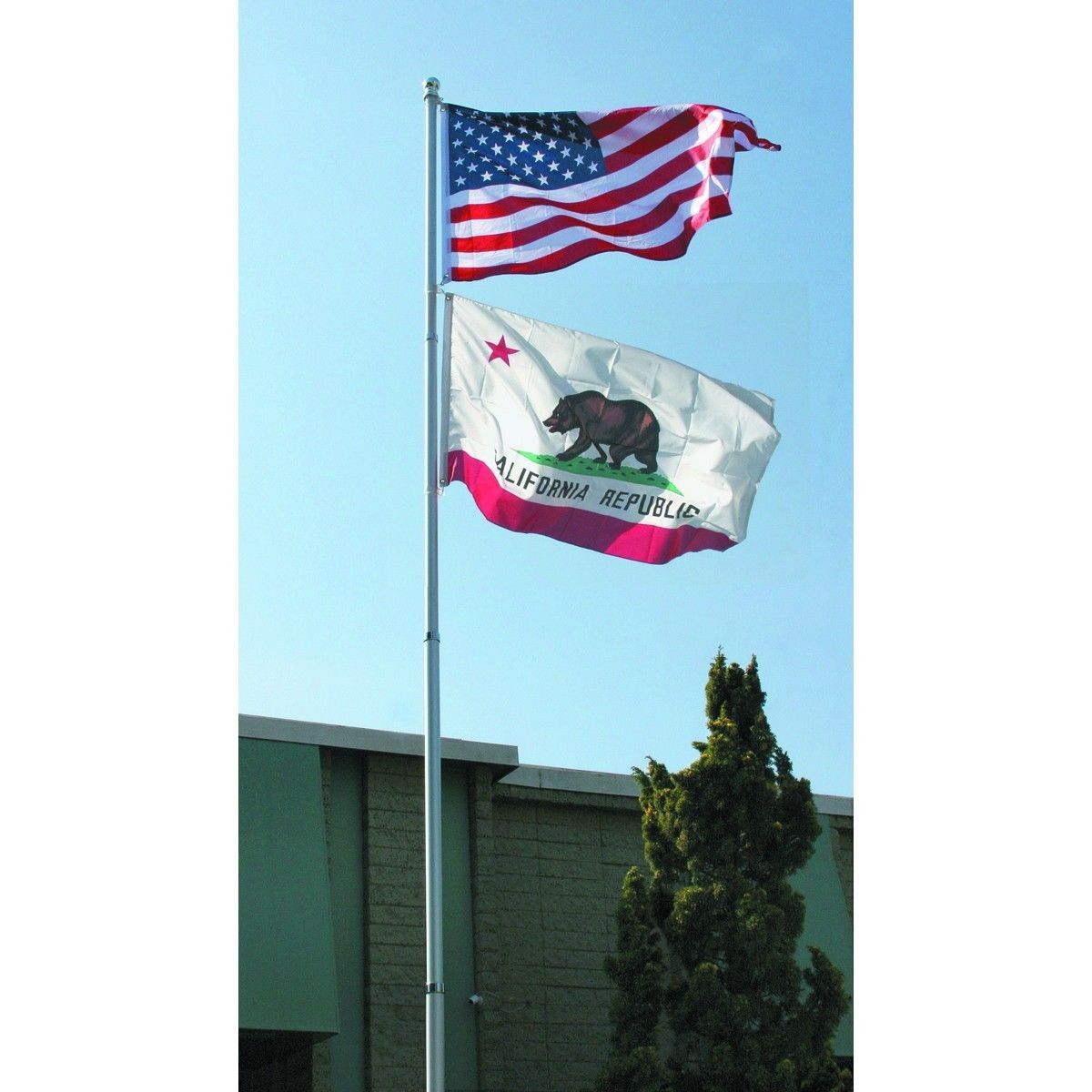 18 FT. STEEL FLAGPOLE W/ 3'x5' U.S.FLAG  2'x3' STATE FLAG &(2) CAR ANTENNA FLAGS