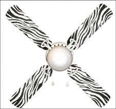 """Zebra Black and White 42"""" Ceiling Fan and Lamp - $77.99+"""