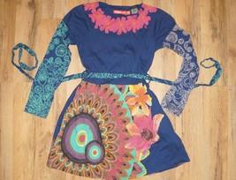 DESIGUAL KIDS LONG SLEEVE BLUE FLORAL DRESS SIZE 7/8  w POCKETS  Colorful - $18.80