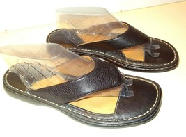 Women's Born Flat Thong Leather Upper Sandal Brown Size 10/42     /2 - $29.99