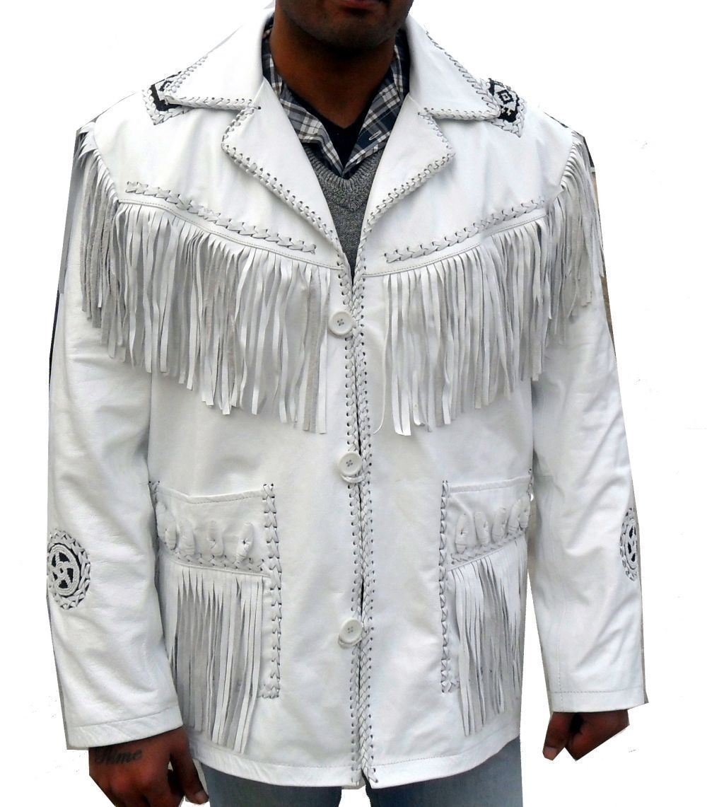 f0d0932e18f Men White Scully Western Wear Beaded Patch Cow Leather Jacket Fringe ...