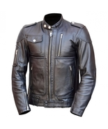 TRIUMPH BLACK EMBROIDERED PATCH ON BACK CALFSKIN MOTORCYCLE LEATHER JACKET  - $159.00