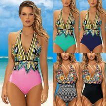 Women's Designer V- Neck Tummy Control Halter One Piece Swimsuit image 3