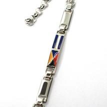 925 STERLING SILVER BRACELET ALTERNATE GLAZED NAUTICAL FLAGS, DIAMOND CUT CHAIN image 2