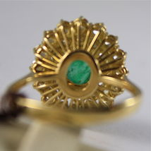 18K YELLOW GOLD 750 RING WITH DIAMONDS AND GREEN EMERALD, FLOWER MADE IN ITALY image 5