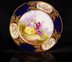 Antique 1846 French plate- Sevres signed Watteau-  Handpainted portrait ... - $275.00