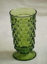 Vintage Iced Tea Tumbler Whitehall Green Avocado by Colony Flared Cube D... - $19.79