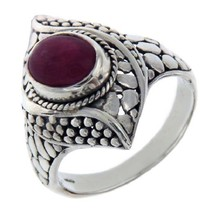 Solid Sterling Silver Ruby Pebble Bali Ring Size 9.5 » R319 - £80.68 GBP