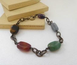 Retro Vintage Dark Antiqued Metal Genuine Stone Chain Station Bracelet E7 - $17.84