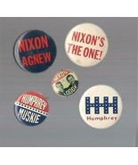 Five Presidential Pinbacks Nixon(2) , Nixon-Lodge, Humphrey & Muskie, - $1.99