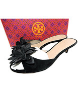 $295 Tory Burch JULES Sandals Black Flower Shoe Slides Mules Flip Flop  8 - $125.00