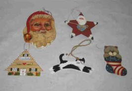 Neat Lot Wooden Primitive Country Christmas Ornaments - $23.24