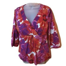 Boden Pink Purple Orange Floral Wrap Tie Front 3/4 Sleeve Blouse Women 12 - $24.74