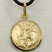 SOLID 18K YELLOW GOLD SAINT MICHAEL ARCHANGEL 15 MM MEDAL, PENDANT MADE IN ITALY image 2