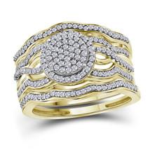 10kt Yellow Gold Diamond Cluster 3-Piece Bridal Wedding Ring Set 1/2 Ctw - £579.87 GBP