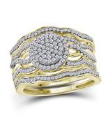 10kt Yellow Gold Diamond Cluster 3-Piece Bridal Wedding Ring Set 1/2 Ctw - $750.00