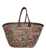 French Market Basket Sparkling Sequin & Leather Straw Tote Bag Moroccan Multi - $64.35