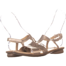 Naturalizer Westly Flat Buckle Sandals, Gold, 9.5 US - $26.87